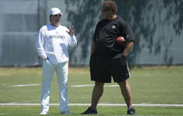 If Reggie McKenzie, right, falter this year, will Mark Davis look to start over again? (USATSI)