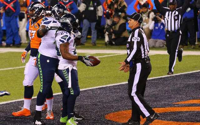 This is the most celebrating you'll ever see from Marshawn Lynch. (USATSI)