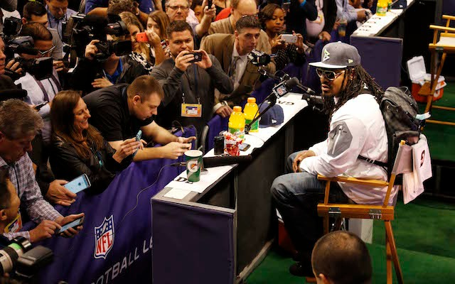 Marshawn Lynch was only at Media Day for one reason. (USATSI)