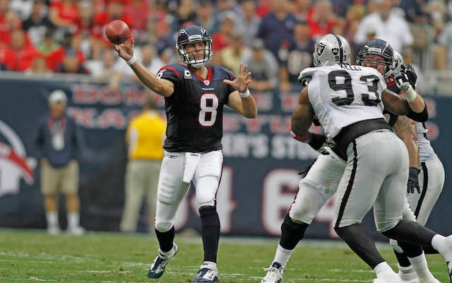 Is Matt Schaub on par with the other AFC West quarterbacks? Dennis Allen thinks so. (USATSI)
