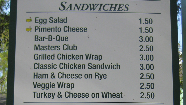 The menu at Augusta National (Mike Freedman)