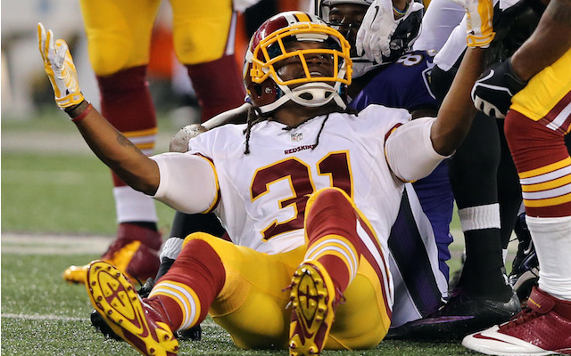 This was Brandon Meriweather's reaction after being flagged against the Ravens. (USATSI)
