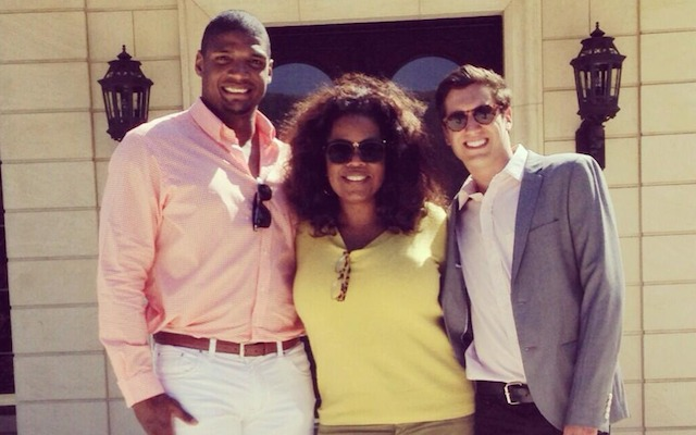 Michael Sam with Oprah Winfrey and boyfriend Vito Cammisano. (Twitter/@VitCamm)