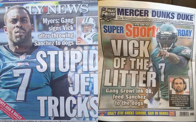 New York newspapers have lots of Michael Vick jokes.