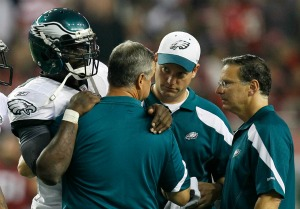 M. Vick suffered a concussion during Sunday's game vs. Atlanta (AP).