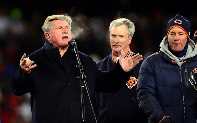 Mike Ditka braved the weather to watch his jersey be retired in 2013. (USATSI)