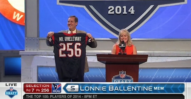 The honor of Mr. Irrelevant went to Memphis safety Lonnie Ballentine [Not pictured]. (NFL Network)