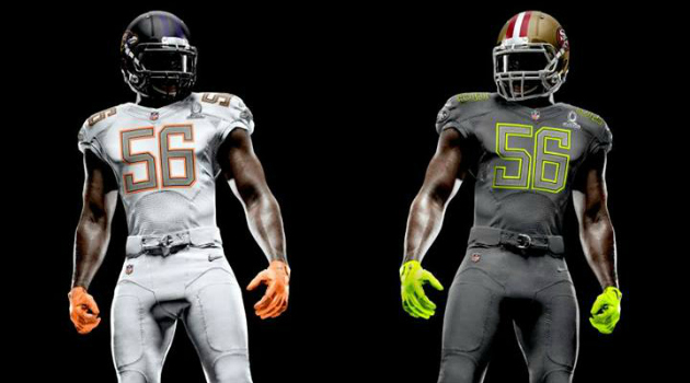 The new 2014 NFL Pro Bowl uniforms that Pro Bowl draftees will be wearing in January.
