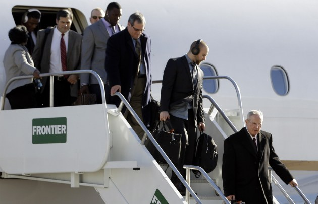 New York arriving in Indianapolis on Monday (AP).