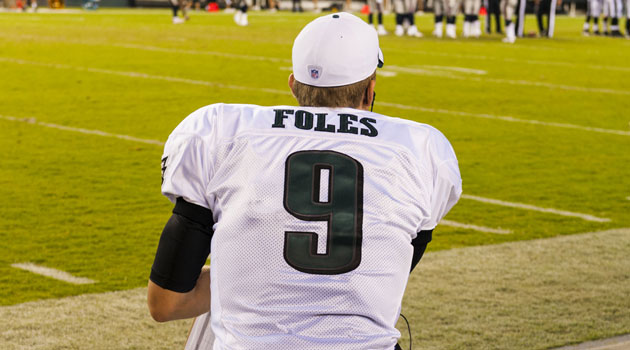 Nick Foles will watch from Philly's sidelines this season.