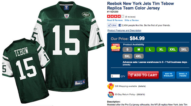 huge selection of 6dabe a9d54 Nike sues Reebok for selling Tim Tebow Jets jerseys ...