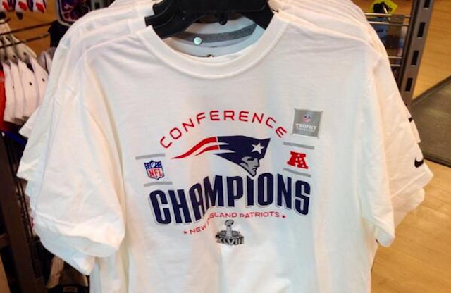 554ca7fb316 PHOTO  New York City store already selling Patriots AFC title shirts ...