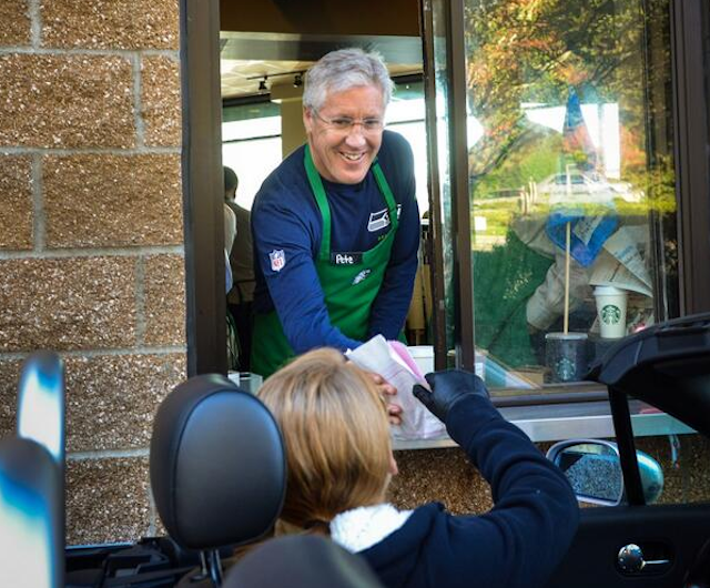 Pete Carroll won't be handing you the coffee, but you can still buy it for 12 cents. (Twitter/@rodmarphoto)