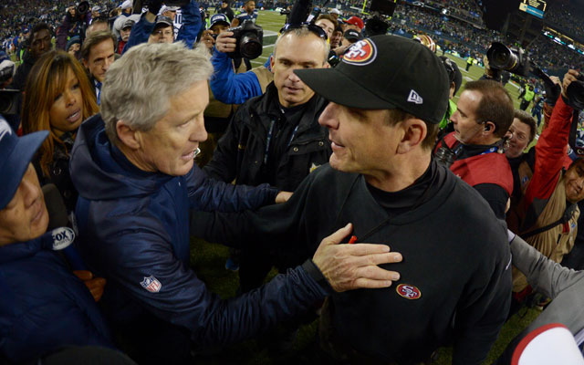 Pete Carroll is cool with beating Jim Harbaugh. (USATSI)