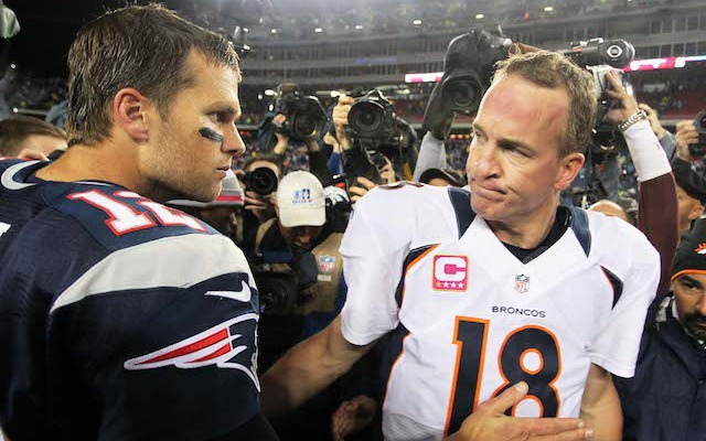 Peyton Manning and Tom Brady will meet in New England during the 2014 regular season. (USATSI)