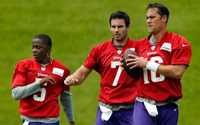One of these three guys will be the starting quarterback in Minnesota this year. (USATSI)