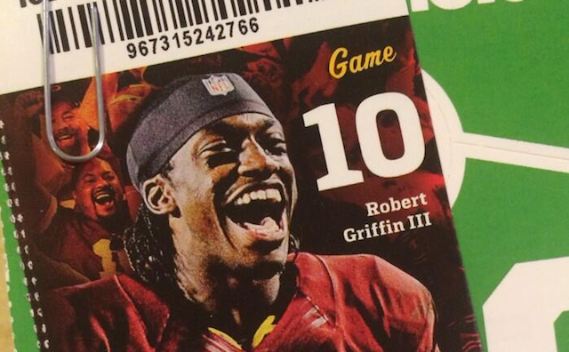 The Redskins ticket office probably thought RG3 would still be the starter in Week 16. (Twitter)