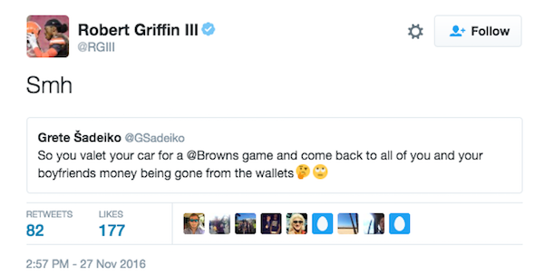 Another loss: Browns' Robert Griffin out money in car theft