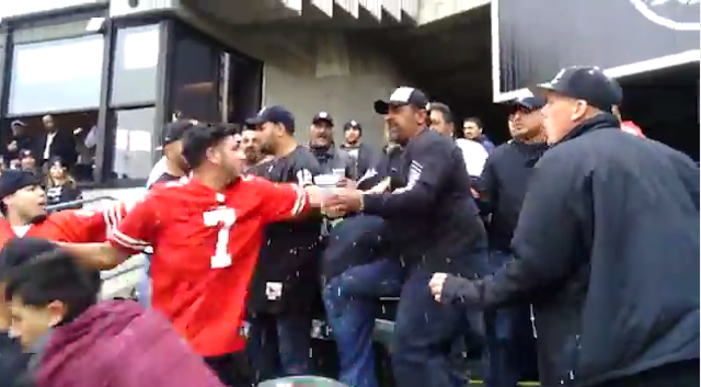 Things got ugly between Raiders and 49ers fans on Sunday. (YouTube)