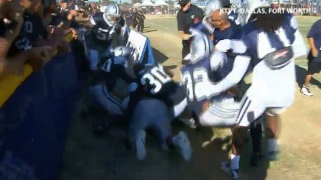 Fans were involved in a fight at Raiders-Cowboys camp.