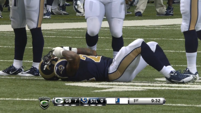 Isaiah Pead went down after injuring his knee on a kickoff return. (KTVI)