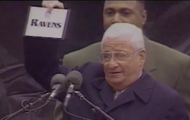 Former Ravens owner Art Modell unveiled the team's name in 1996. (Vine screen grab/Ravens)