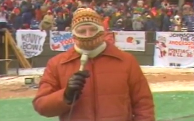 A reporter at the Bengals-Chargers Freezer Bowl in January 1982. (WCPO/YouTube)