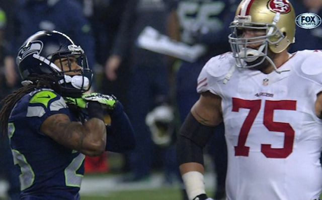 Richard Sherman flashed a choke-sign at 49ers quarterback Colin Kaepernick. (Fox/NFL)