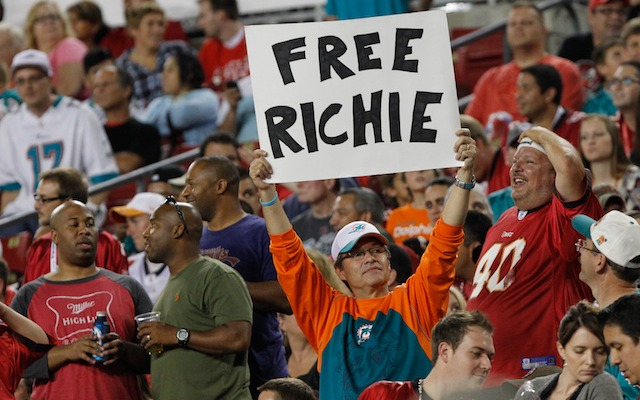Richie Incognito has finally been freed by the Dolphins. (USATSI)