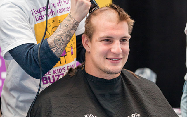 Rob Gronkowski shaved his head for charity.