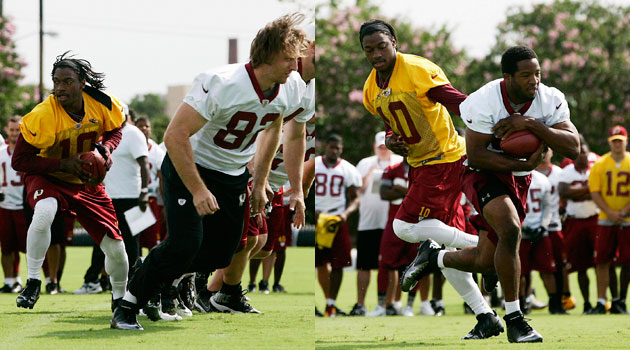Robert Griffin III took one rep during the Redskins walkthrough on Thursday. (USATSI)