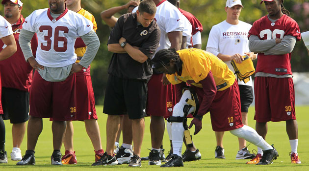 RG3 attached a brace to his knee but didn't return to the walthrough. (USATSI)