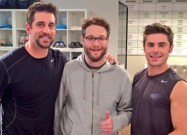 Seth Rogen gives hanging out with Aaron Rodgers a thumbs up. (Twitter)
