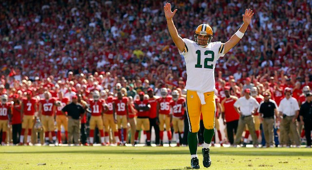 Aaron Rodgers threw for 335 yards in the first half against the Redskins. (USATSI)