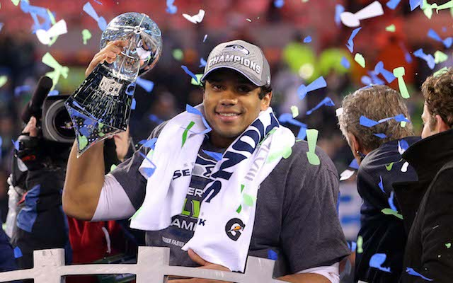 Russell Wilson was extra clean after winning the Lombardi Trophy. (USATSI)