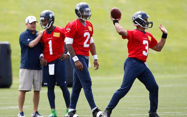 Three of Seattle's 'Jackson 5' practice together during OTAs. (USATSI)