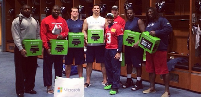 Everyone on the Seahawks offense got an XBox One courtesy of Russell Wilson. (Instagram)