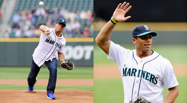 Russell Wilson threw out the first pitch on Friday night for the Mariners against the Yankees. (USATSI)