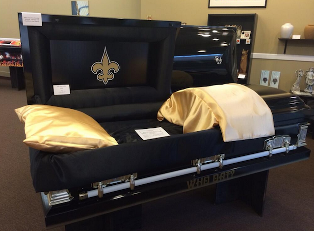 This Saints casket may not be on sale much longer. (Twitter/@AntwanHarris)