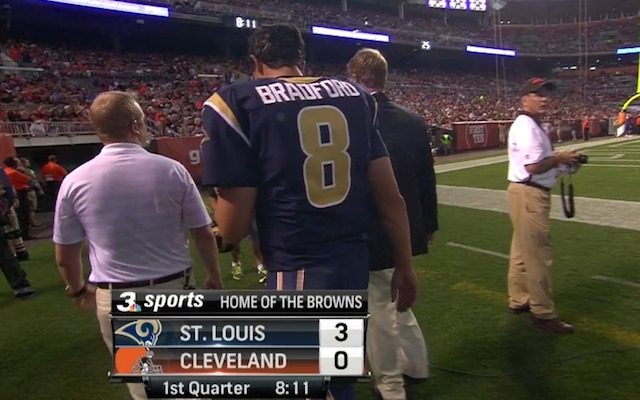 Sam Bradford was taken to the locker room after going down in the first quarter. (WKYC-TV)