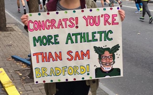Even marathon fans are mocking Fam Bradford. (Twitter)