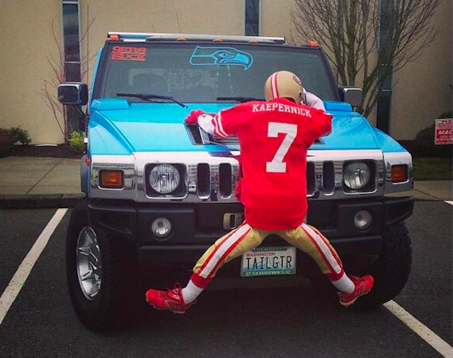 This fake Colin Kaepernick had no chance against the Hummer. (Twitter/@LyssDJones)