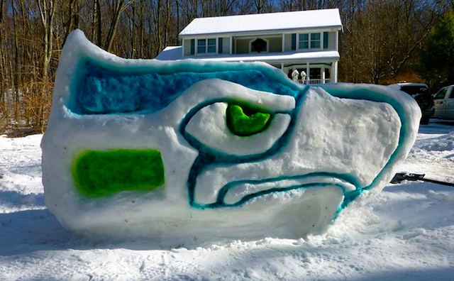 This is what a giant Seahawks snow-sculpture looks like. (Facebook)