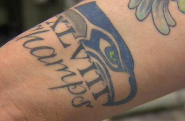 One fan in Seattle is really hoping the Seahawks win the Lombardi Trophy this year. (Twitter/KOMO)