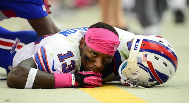 Bills receiver Stevie Johnson left Thursday's game with a back injury, his return is questionable. (USATSI)
