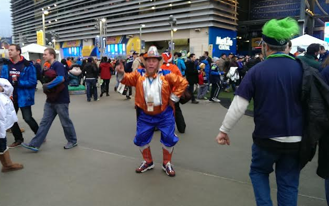This is the Broncos biggest fan. Not tallest though. (CBSSports.com/John Breech)