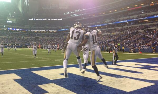 Tavon Austin celebrates with Chris Givens after an Austin first half touchdown. (Twitter)