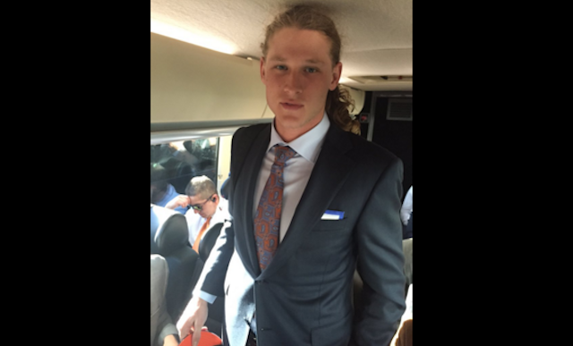 Jordan Taylor was well-dressed on the Broncos road trip. (Twitter/PhilMilani)