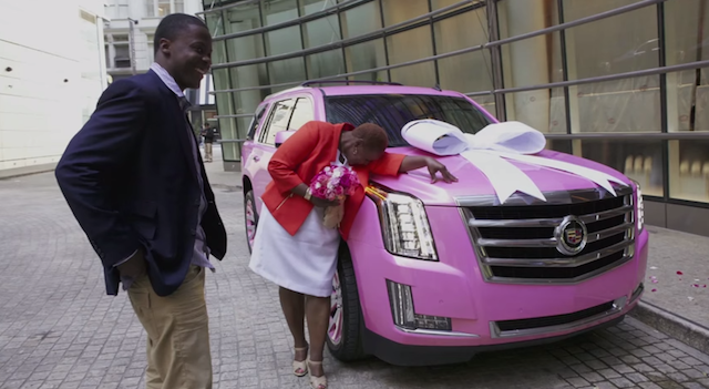 Teddy Bridgewater presents his mom with a pink Cadillac Escalade. (YouTube)