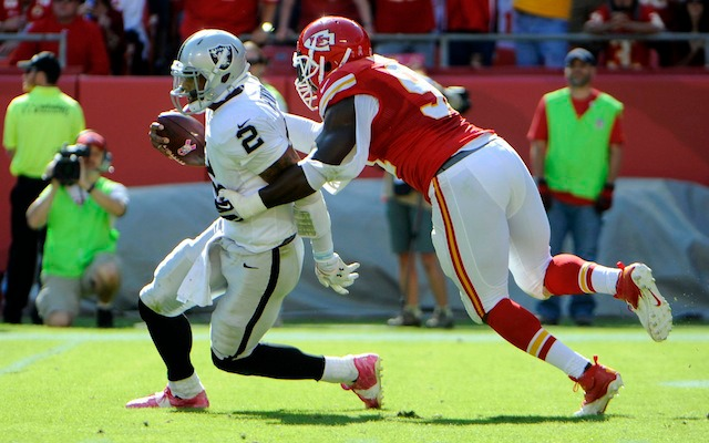 Despite getting roughed up in Kansas City, Terrelle Pryor still thinks the Raiders are a playoff team. (USATSI)